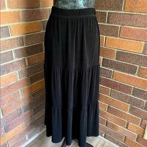 Chico's Travelers Tiered Black Maxi Skirt